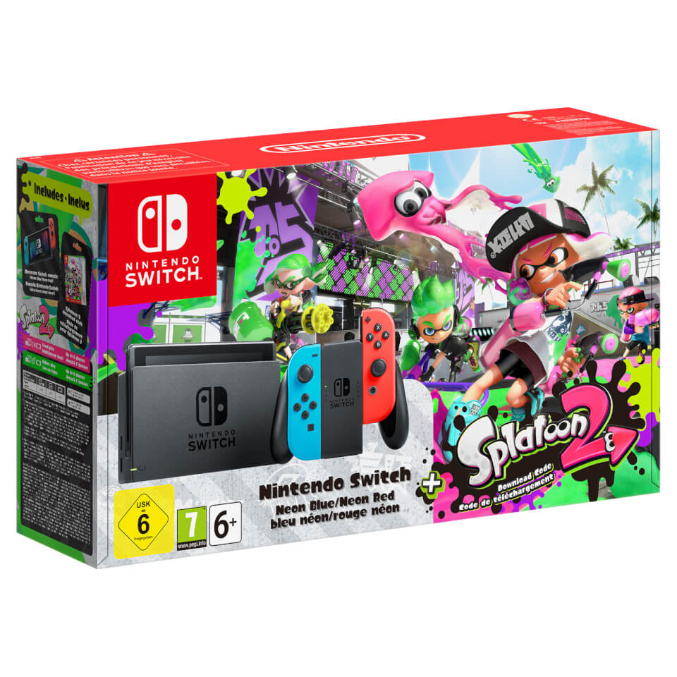 Nintendo Switch With Neon Blue Neon Red Joy Con Controllers Splatoon 2 Limited Edition