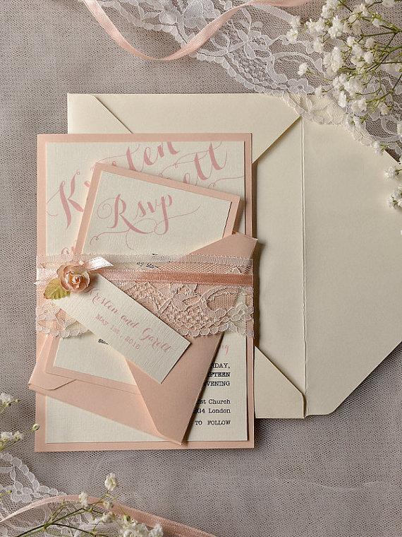 Custom Listing 20 Ivory Peach Wedding Invitation Vine Lace Invitations Rustic Belly Band New