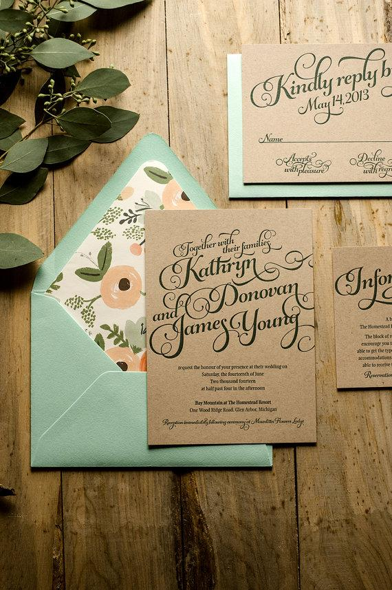 Rustic Wedding Invitation Mint Kraft