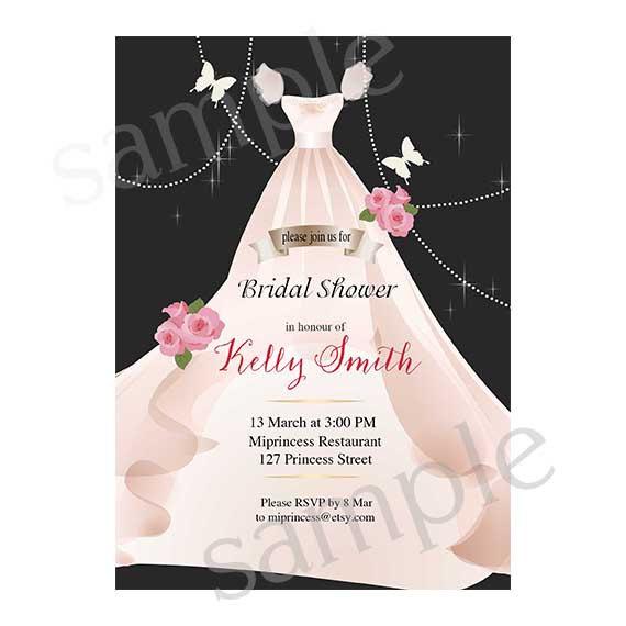 Bridal Shower Invitation Wedding Shabby Chic Gown Fl Blooms Card Design Elegant 39 New