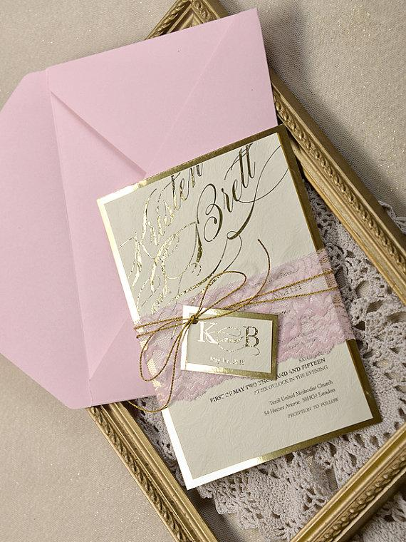 Pink And Gold Wedding Invitation Lace Invitations