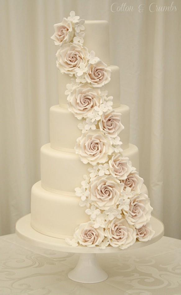 Rose Wedding Rose Cascade Wedding Cake 1987555 Weddbook