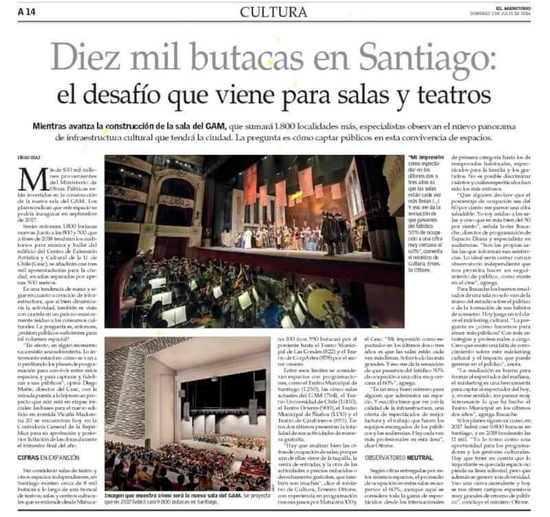"""Article """"Diez mil butacas en Santiago: el desafío que viene para salas y teatros"""" © El Mercurio"""