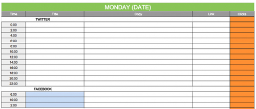 Modelo de calendario de contenidos en redes sociales