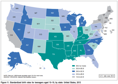 birth rates by state - 2012