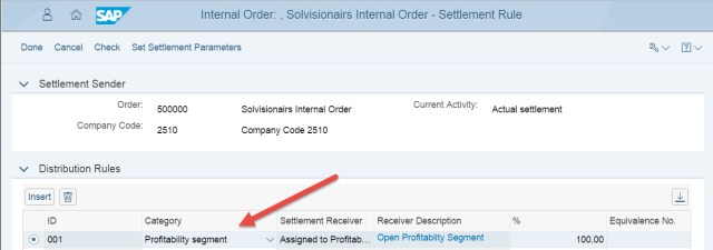 Fiori Internal Order Settlement Rule