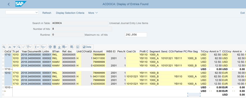 10. ACDOCA line items