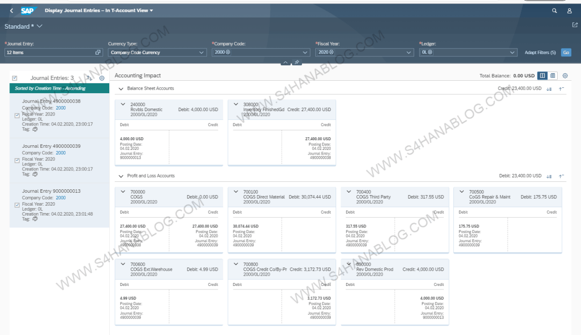 S/4HANA Display T-account View