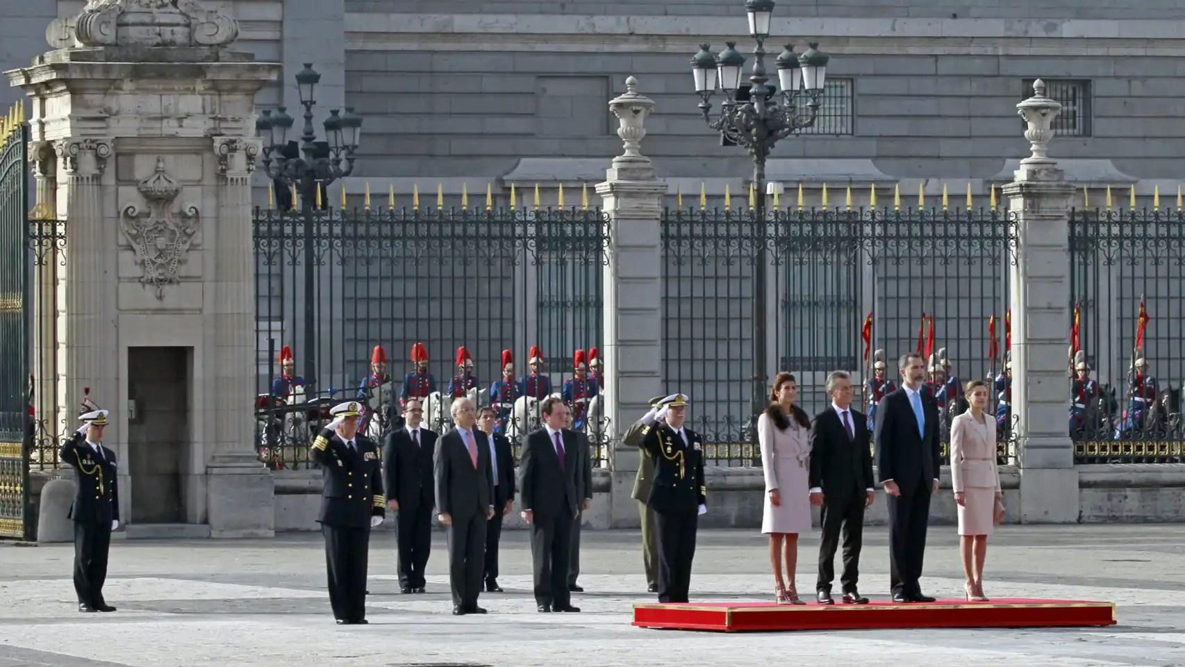 Juliana, Mauricio Macri, Felipe VI y Letizia en el Palacio Real.
