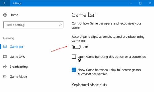 Disable Game Bar