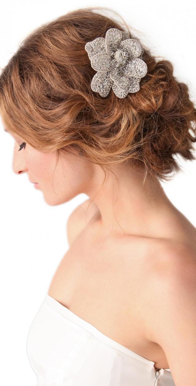 updo hair model - rhinestones wedding hair clip #1331957