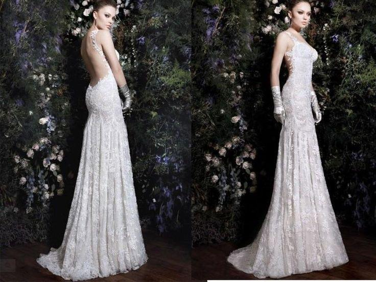 New Sexy Lace Backless Wedding Dress