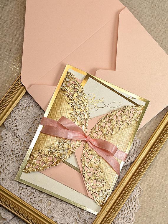 Country Peach Blush And Gray Fl Wedding Invitations