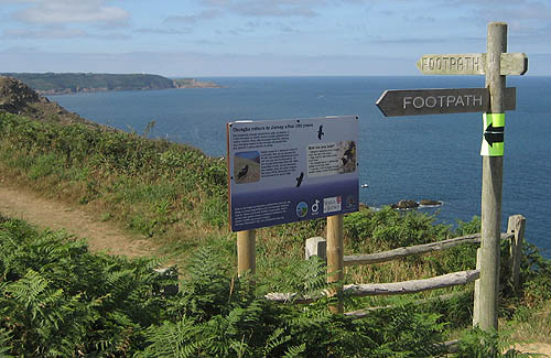 Project information sign on the coastal footpath