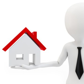 3d business man with house on white background