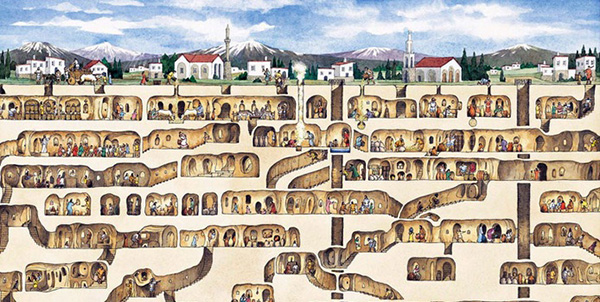 Underground cities of Cappadocia, Turkey extend 11 levels deep