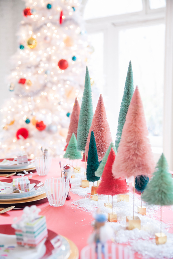 table de noel coloree