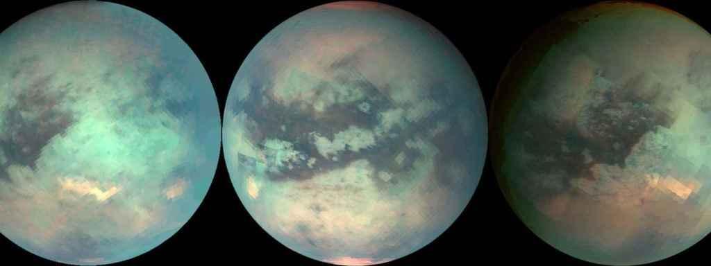 La sonda espacial de la NASA Cassini utilizó luz infrarroja para mirar a través de la atmósfera nebulosa de Titán y tomar medidas aproximadas de su superficie.