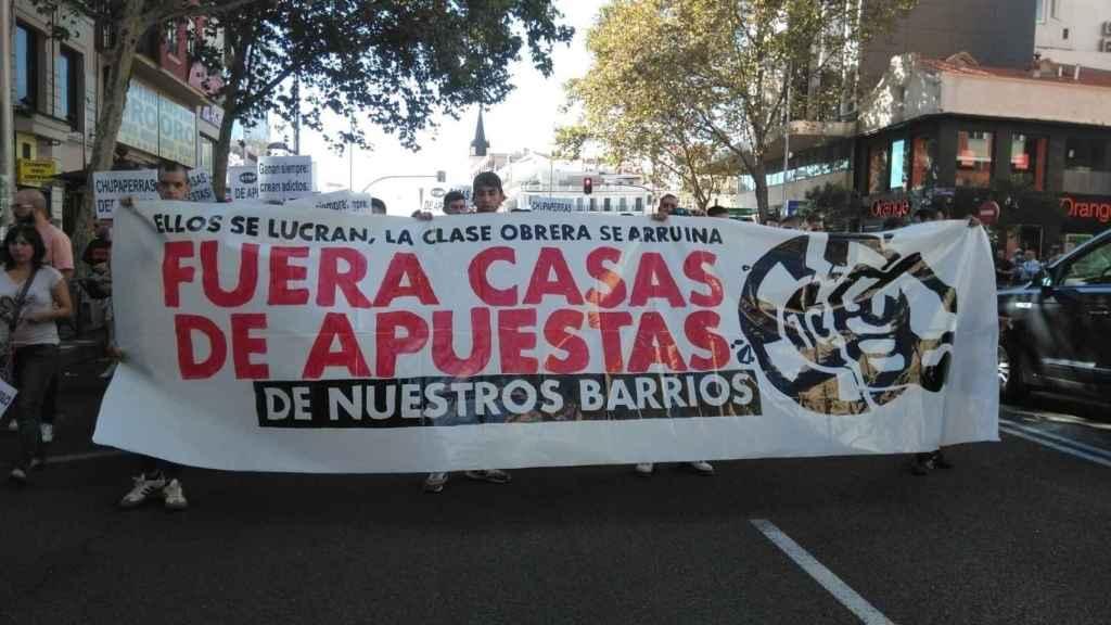 Imagen de una manifestación en Madrid contra las casas de apuestas.