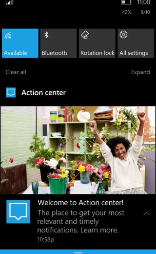 Windows 10 PC Action Center in Windows 10 Mobile Redstone 2