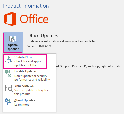Office 365 and Excel 2016 office updates