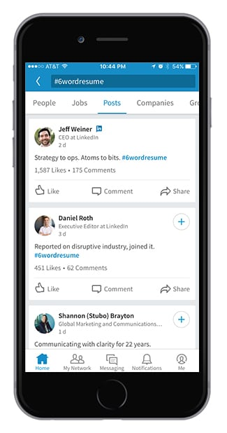 LinkedIn content search-tappable hashtags