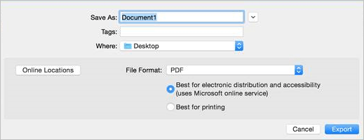Export as accessible PDF from Word for Mac.