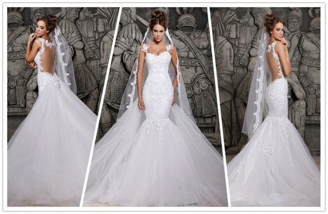 2014 Designers White Lace Mermaid Wedding Dresses