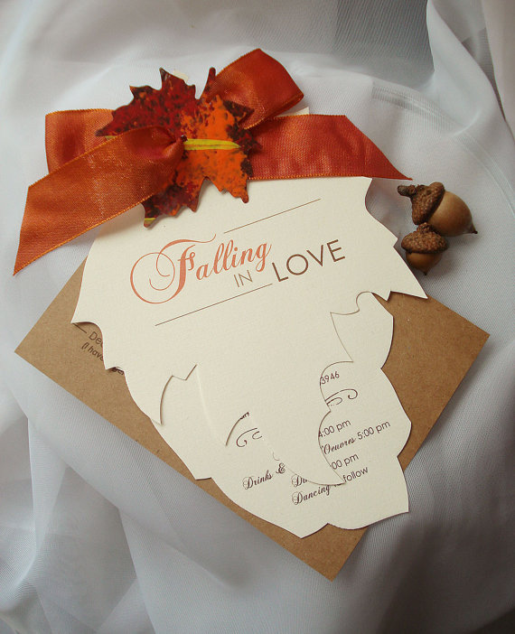 Falling In Love Hand Cut Autumn Leaf Wedding Invitation Sle New