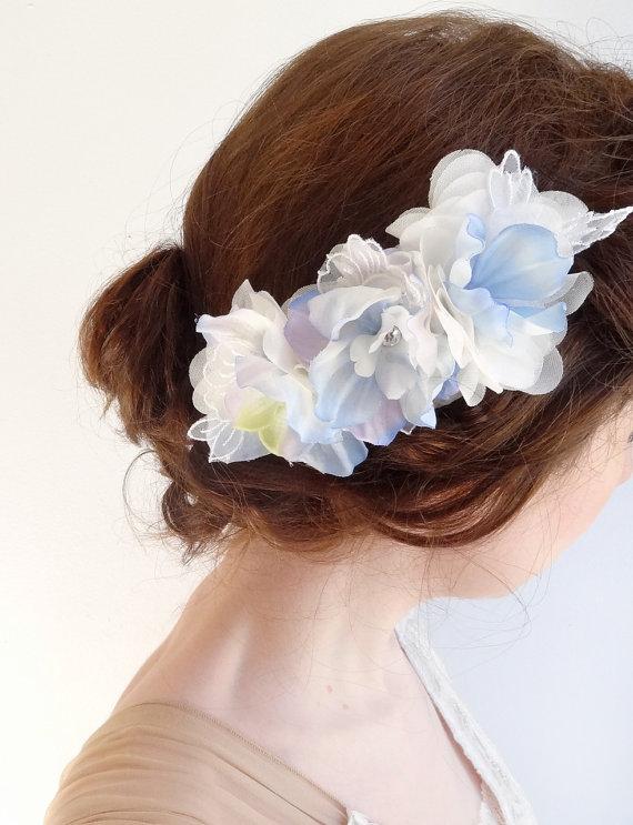 Light Blue Hair Accessories Flower Hair Clips Bridal