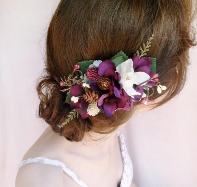 Eggplant Hair Accessories Rustic Bridal Hairpiece Purple
