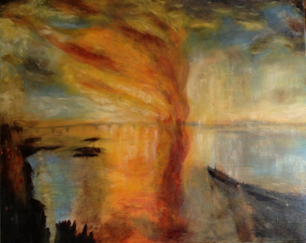 London burning after Turner, Oil on canvas, sold