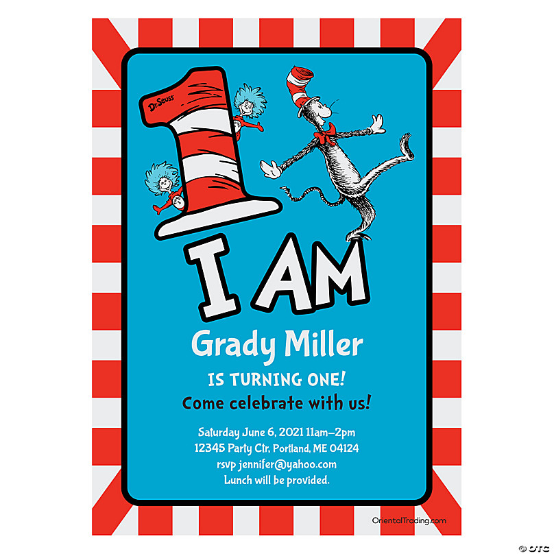 personalized dr seuss 1st birthday party invitations