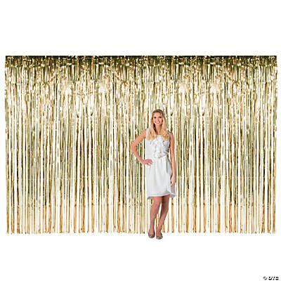 large gold metallic fringe backdrop curtain