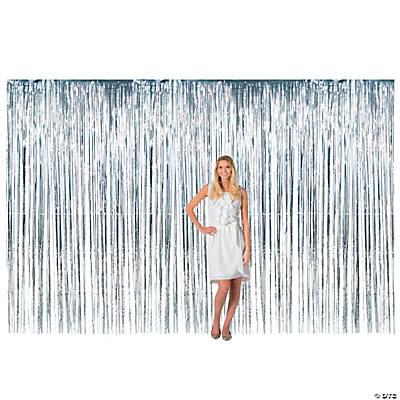 large silver metallic fringe backdrop curtain