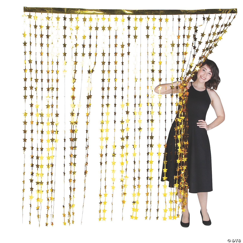 gold star foil curtain backdrop
