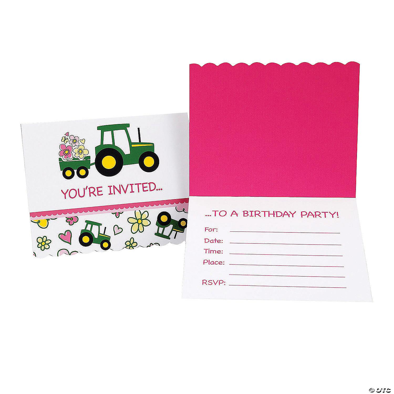 john deere pink invitations