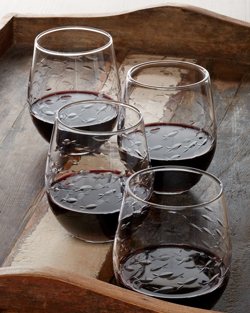 Fish Cut Glass Stemless Wine Glasses Set Of Four