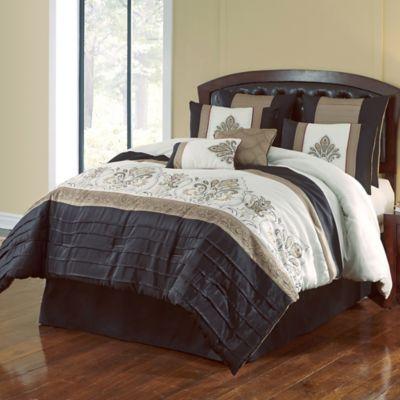 Jacob 8 Piece Comforter Set In BlackGold Bed Bath Amp Beyond