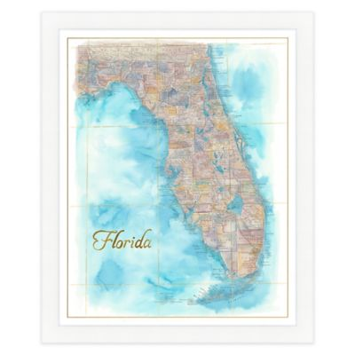 Florida Map Watercolor Wall Art Bed Bath Amp Beyond