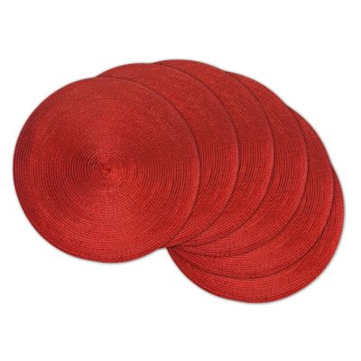 Design Imports Round Woven Metallic Placemats In Red Set