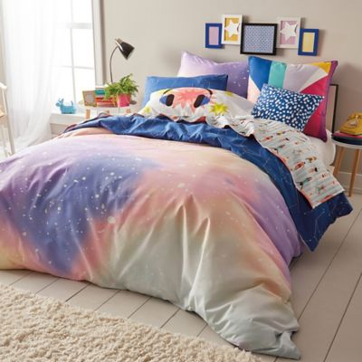 Scribble Twilight Reversible Comforter Set In PeachNavy