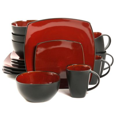 Gibson Home Amalfi 16 Piece Dinnerware Set In RedBlack
