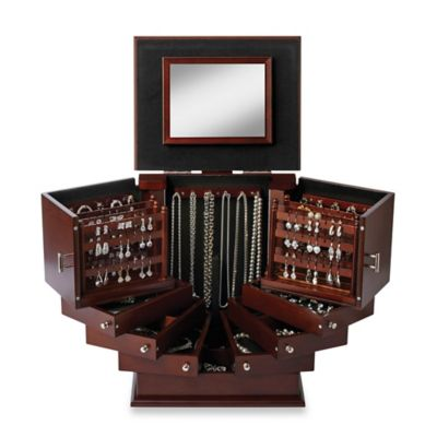Lori Greiner Deluxe Wood Jewelry Organizer In Walnut