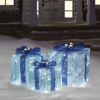 Hanukkah Gift Boxes With Lights In BlueWhite Bed Bath