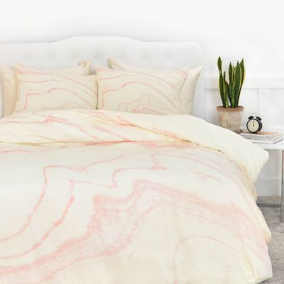 Deny Designs Rebecca Allen Blush Marble Duvet Cover Bed