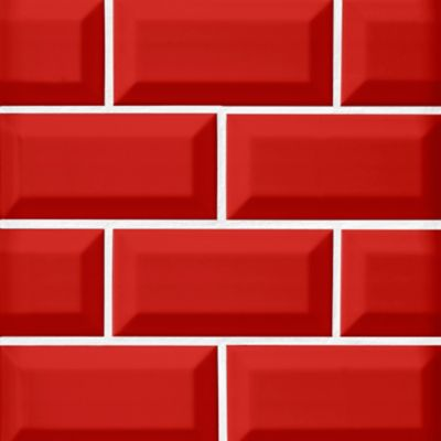 imperial red bevel gloss ceramic subway wall tile 3 x 6 in