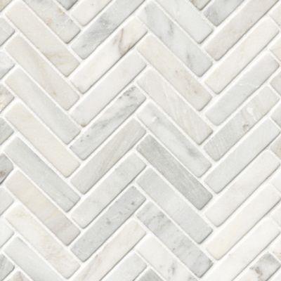 hampton carrara tumbled large herringbone marble mosaic tile