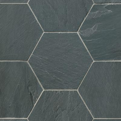 adoni black slate hexagon wall and floor tile 10 x 10 in