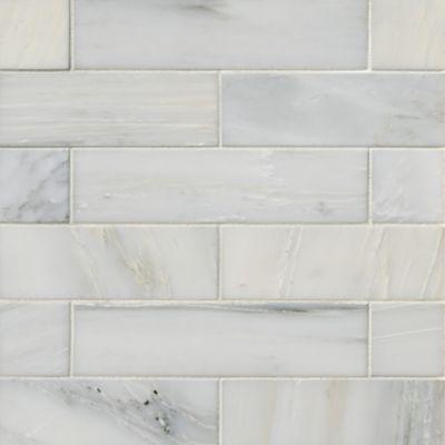 hampton carrara polished marble subway wall and floor tile 2 x 8 in